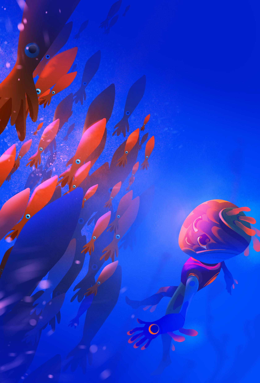 Swarming squids